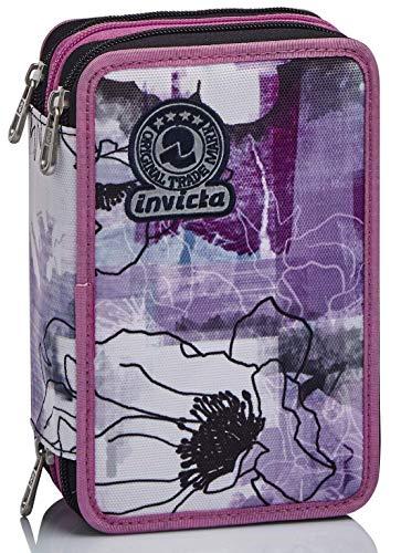 Astuccio 3 Scomparti Invicta , Paint & Flowers, Rosa, Completo di matite, penne, pennarelli