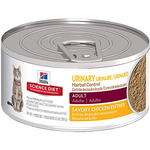 Hill's Science Diet Wet Cat Food, Adult, Urinary & Hairball Control, Savory Chicken Recipe, 5oz Cans, 24 Pack