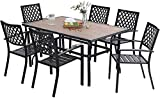 MFSTUDIO 7PCS Patio Dining Set, Large Rectangular Wood Like Top Table with 6 Metal Chairs, Outdoor Furniture Set with Umbrella Hole for Porch, Backyard