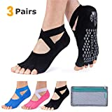Hylaea - Calcetines de yoga para mujer con agarre y antideslizante sin dedos de los pies para ballet, pilates, baile, 5-7, 3 pares (negro sandía azul).