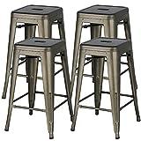 Yaheetech 24inch Metal Bar Stools Counter Height Barstools Set of 4 High Backless Industrial Stackable Metal Chairs Indoor/Outdoor, Gun Metal