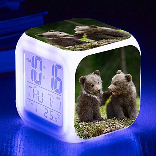 Wecklichter USB Netter Bär Wecker 7 Farbe Leuchtende LED Stimmungslampe Digitaler Wecker Für Kinder Geburtstagsgeschenk Multifunktionsuhren UhrA.