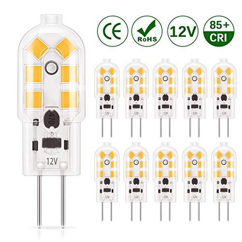 DiCUNO lampadina 10-Pack G4 1.5W LED, 180LM, AC/DC 12V lampadine Equivalente a 20W, Bianco caldo...