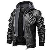 FEDTOSING Men's Faux Leather Jacket Retro Zip-UP Motorcycle Jackets with Removable Hood (Black-7 XL)