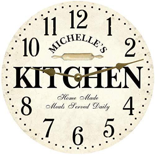 Amazon Com Personalized Kitchen Wall Clock White Kitchen Clock Handmade