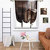 Kmydt Western Decor Tie Up Shades American West Rodeo Hat with Traditional Ranching Robe On Wooden Ground Folk Art Photo Home Decorative Adjustable Tie Up for Living Room 36' x 72' Brown Beige