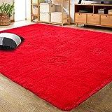 LOCHAS Ultra Soft Indoor Modern Area Rugs Fluffy Living Room Carpets for Children Bedroom Home Decor Nursery Rug 4x5.3 Feet, Red