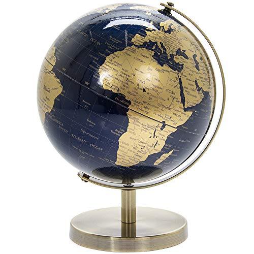 Lesser & Pavey Globe Vintage Rotatif doré et Bleu avec Support en métal...