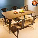 Harper & Bright Designs 4-Piece Dining Table Set Kitchen Table with Bench and Chairs,59''x 36'', Kitchen Table Antique Style Home Furniture for Dining Room, Pub and Bistro