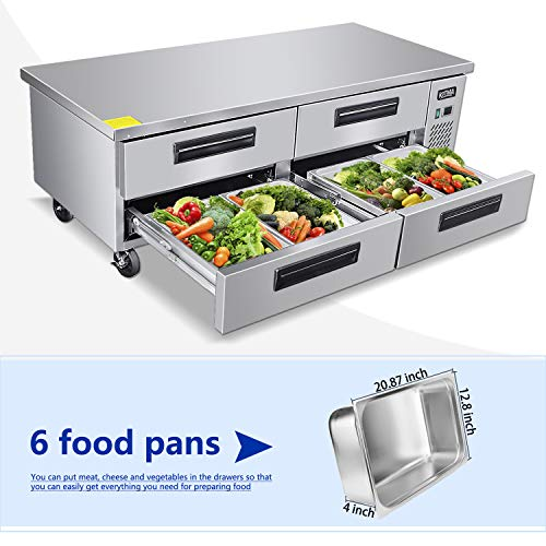 Commercial 4 Drawer Refrigerated Chef Base - KITMA 72 Inches Stainless Steel Chef Base Work Table Refrigerator, 33 °F - 38°F 4