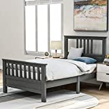 Twin Bed Frame ,Twin Platform Bed with Headboard ,Wood Twin Size Bed Frame for Kids ,No Spring Box Needed (Grey Twin Bed)