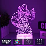 Raven Fortress Battle Royale LED Lamp with Crack Base Changeable USB Touch Light 3D Visual Bulbing lampen Children's Room Decor Holiday Light