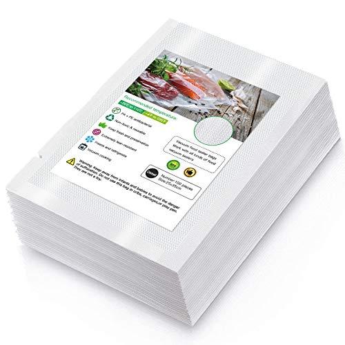 Sacchetti per Sottovuoto,100 sacchetti 25x35cm Sottovuoto Sacchetti Alimenti, 210 micron Sottovuoto Sacchetti Rotoli, senza BPA, Sacchi commerciali per conservazione alimenti e cottura Sous Vide