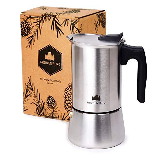 Groenenberg Espressokocher Induktion geeignet | Edelstahl | 6 Tassen Espressokanne | Mokkakanne 300 ml | Espresso Maker inkl. Ersatz Dichtung | Coffee Maker mit praktischem Tragebeutel