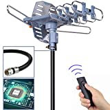 pingbingding Digital Outdoor TV Antenna, 150 Mile Motorized 360 Degree Rotation Support 2 TVs, Mounting Pole, 50FT RG6 Coax Cable, Wireless Remote Control, UHF/VHF, Snap-On Installation