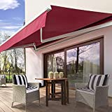 Diensweek Patio Awning Retractable Electric Motorized Commercial Grade - Quality 100% 280G Ployester Window Door Sunshade - Deck Canopy Balcony P100 Series 2 Years Warranty (12'x10'(Electric), Red)