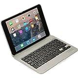 Cooper Kai SKEL P1 [Étui Coquille Clapet & Clavier Bluetooth] pour Apple iPad Mini 1 2 3 Coque Portable Macbook 13 Touches de Raccourci (Argent)