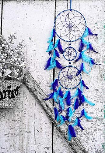 ILU® Dream Catchers, Wall Hangings, Home Decor, Handmade Dreamcatcher for Bedroom, Balcony, Garden, Party, Cafe, Small Ring Beaded Blue & Light Blue Feathers, 17cm Diameter, Length 80cm