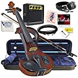 Electric Violin Bunnel Edge Outfit 4/4 Full Size Clearance (Dark Zebrano)- Carrying Case and Accessories Included - Amp and Headphone Jack - Highest Quality with Piezo ceramic pick-up By Kennedy Violi