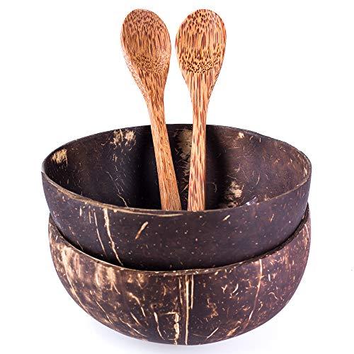2er Set Schalen und Löffel aus echter Kokosnuss | Handgemacht, vegan, umweltfreundlich | Poliert...