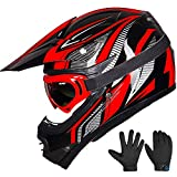 ILM Youth Kids ATV Motocross Dirt Bike Motorcycle BMX Downhill Off-Road MTB Mountain Bike Helmet DOT Approved (Youth-XL, Red/Silver)