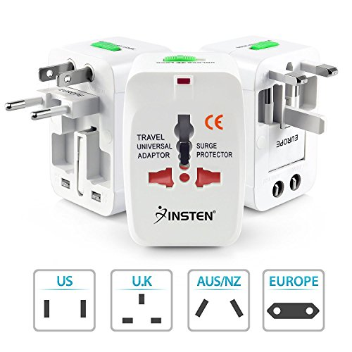 Insten Universal Worldwide Travel Adapter for 150+ Countries, International Power Charger, European Adapter, Wall Charger Power Plug for USA EU UK AUS Compatible w/iPhone, iPad, Samsung Galaxy & More