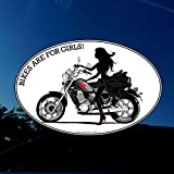 Motorcycle Decal - Woman Cruiser Rider - 'Bikes are for Girls!' - I Ride My Own - for Cars/Windows/Laptops - 4' x 6'