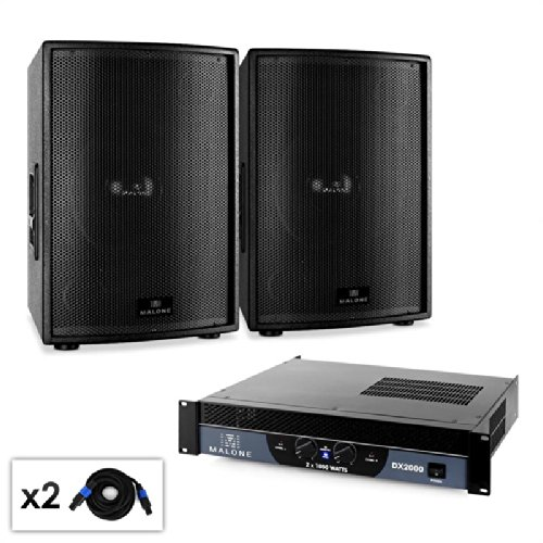 Malone 2.0 SUB Disco DJ Party Lautsprecherboxen Set Pa-Komplettset mit Verstärker (2 passive PA-Subwoofer je 1000W RMS, Verstärker 2000W, inkl. 5m Lautsprecherkabel) schwarz