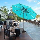 HYD-Parts 10 Feet Solar Patio Umbrella,Outdoor Market Patio Umbrella w/Tilt for Garden,Deck, Backyard, Pool