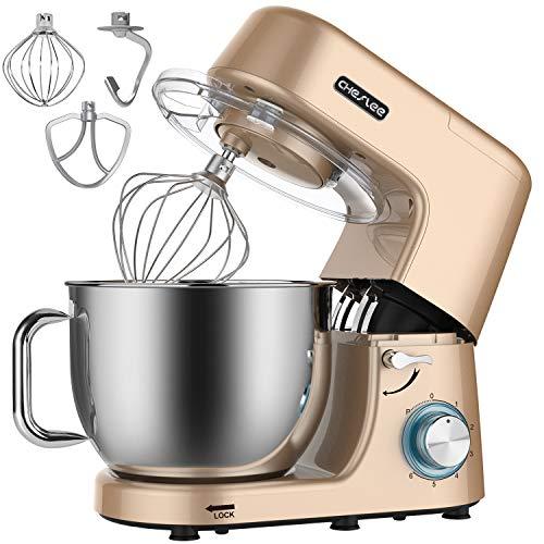 CHeflee Amasadora Batidora 1800 W Máquina de Cocina Gancho Para Masa, con Recipiente de Acero Inoxidable de 7,2 L, Multifuncional Para Hornear Batidora Vertical de Alimentos