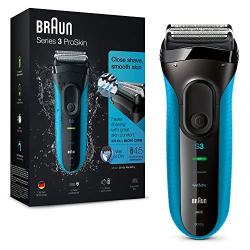 Braun Series 3 ProSkin 3010s Rasoio Elettrico, Nero/Blu e Rasoio Elettrico da Uomo Wet&Dry Ricaricabile e Senza Fili