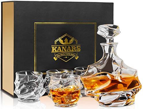 KANARS Bottiglie e Bicchieri Whisky, Decanter da Whiskey Cristallo, 750ml Bottiglia con 4X 320ml...