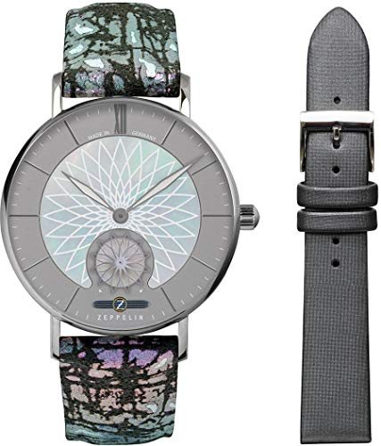 Zeppelin Damenuhr mit Buntem Design Lederband Serie Mandala Quarz Kleine Sekunde 8131-3