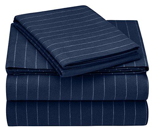 Pinzon 160 Gram Pinstripe Flannel Cotton Bed Sheet Set