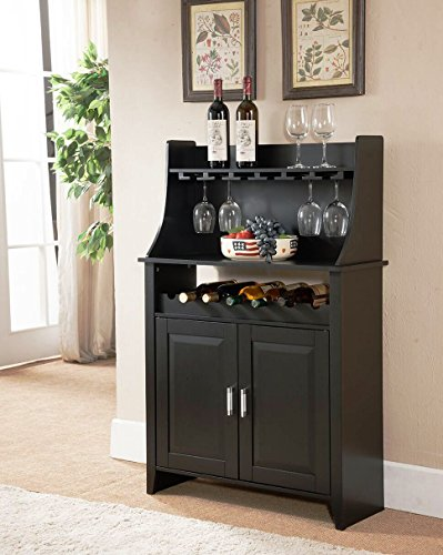 Kings Brand Furniture Wood Wine Rack Buffet & Storage Cabinet, Black, WR1345