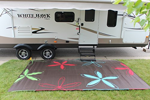 Rv Mat Patio Rug Colorful Floral Design 9x12