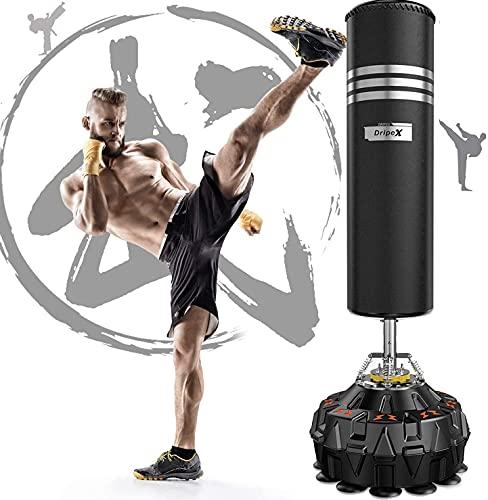Dripex Sac de Frappe sur Pied Adulte 178cm Sac de Boxe Autoportant MMA Punching Ball Adulte avec 18 Ventouses pour Karaté Fitness Taekwondo - Noir