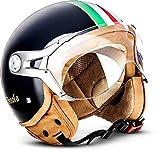 "SOXON NTNK N325 ""Imola Black"" · Open-Face-Helmet · Motorcycle Half-Face Jet Pilot Motor-Bike Scooter Biker Retro Chopper Cruiser Vintage Bobber Retro · DOT Approved · M"