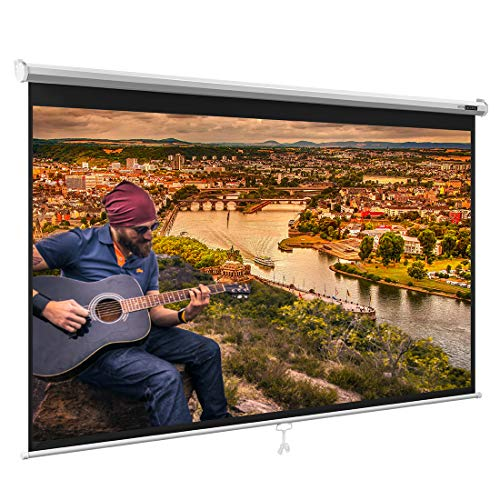 VIVOHOME Manual Pull Down Projector Screen, 100 Inch, 16:9 HD Retractable Widescreen for Movie Home Theater Cinema Office Video Game