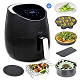 Yedi Total Package Ceramic Air Fryer XL, 5.8 Quart, Ceramic Deluxe Accessory Kit, Recipes, Black