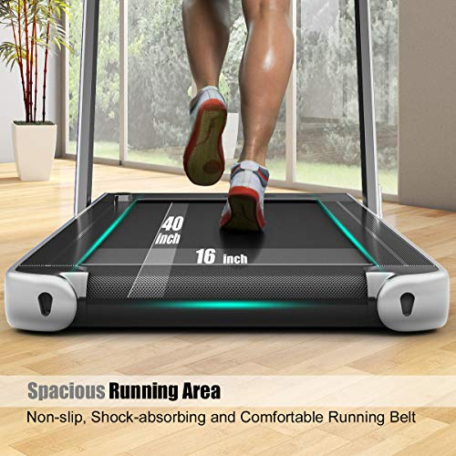 GYMAX 2 in 1 Under Desk Treadmill, 2.25HP Folding Walking Jogging Machine with Dual Display, Bluetooth Speaker & Remote Controller, Electric Motorized Treadmill for Home/Gym (Silver) 9