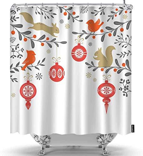 Tenda da Doccia Natalizia con Sfondo Floreale con Uccelli Sornamenti di quirrel Tende da Doccia Bianche Marroni Rosse Ganci Decorativi in Tessuto di Poliestere Impermeabile per la casa