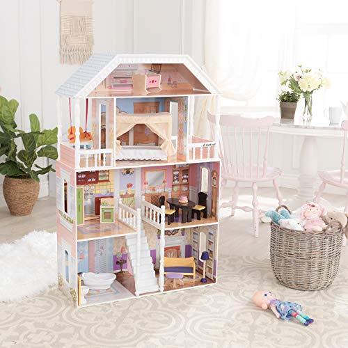 Image 12 - Kidkraft - 65023 - Maison de Poupées en Bois Savannah Incluant Accessoires et Mobilier, 4 Étages de Jeu pour Poupées 30 cm