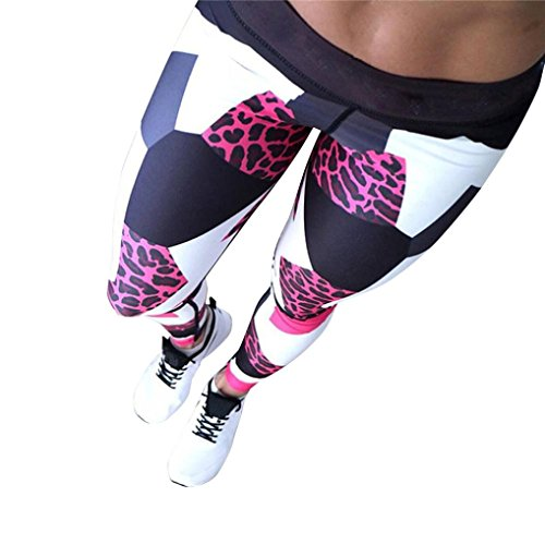 Homebaby Leopardo Sportivi Donna Pantaloni Tagliati Hight Waist - Eleganti Yoga Leggings Sport Opaco Fitness Spandex Palestra Pantaloni Leggins Push Up- Pantaloni Capri Tuta Donna (S, Rosso)