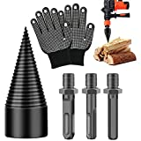 3PCS Wood Splitter Drill Bits with Gloves, Firewood Log Wood Splitter Drill Bit Removable Handle, Heavy Duty Drill Screw Cone Driver for Hand Drill Stick (45 mm, Square+Round+Hexagonal)