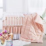 Brandream Pink Nursery Bedding for Girls Princess Pintuck Crib Bedding Jade Pink Baby Comforter Set, 7 Piece