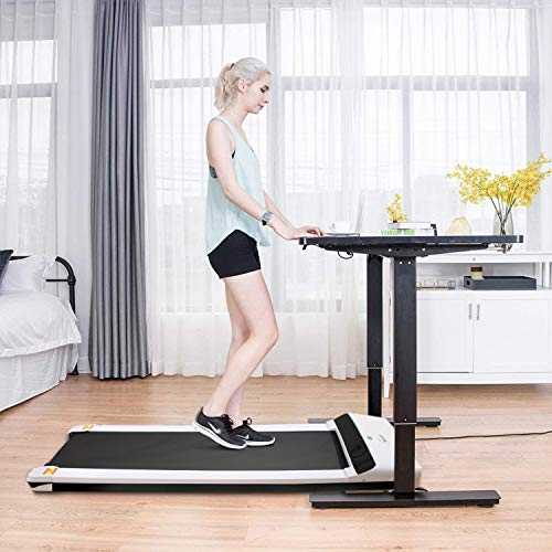 UMAY Portable Treadmill with Foldable Wheels, Under Desk Walking Pad Flat Slim Treadmill, Sports App, Installation-Free, Remote Control, Jogging Running Machine for Home/Office, White 6