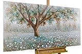 Kunstloft® Cuadro acrílico 'Susurro de árboles' 140x70cm | Original Pintura...