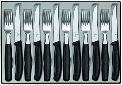 Victorinox Swiss Classic, set di posate da 12 pezzi, per sei persone, composto da 6 coltelli da bistecca e 6 forchette, nero