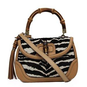 Gucci Bamboo Top Handle Pony Hair Handbag 254884, Beige Black 5